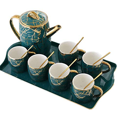 n.g. Wohnzimmerzubehör Teesets für Erwachsene Moderne Kreative Luxuriöse Goldbesatz 6 Stück Teetasse Und Löffel Mit Einer Teekanne Für Zuhause Und Büro Kaffee Teeparty