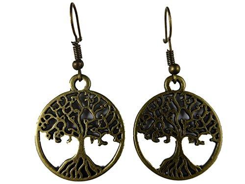 Ausgefallene Ohrringe Ohrhänger Hänger Vintage messingfarben Baum Amulett Bonsai Medaillon 4977
