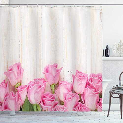 ABAKUHAUS Rose Duschvorhang, Blumen auf Holzplanken, Waserdichter Stoff mit 12 Haken Set Dekorativer Farbfest Bakterie Resistet, 175 x 200 cm, Rosa grüne Creme