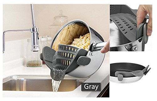 Clip-On Strain Strainer, ICASA, Silicone Clip Strainer Fits all Pots and Bowls - Gray, Mother's Day Gift
