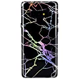 JIAXIUFEN Galaxy Note 9 Case Shiny Change Color Black Marble Design Soft Bumper TPU Rubber Silicone Cover Phone Case for Samsung Galaxy Note 9