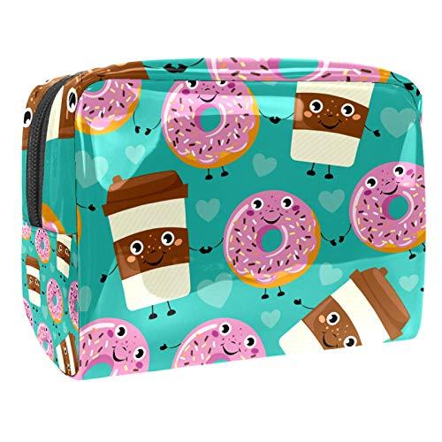 Tragbare Make-up-Tasche mit Reißverschluss, Reise-Kulturbeutel für Frauen, praktische Aufbewahrung, Kosmetiktasche, Comic-Kaffeetasse, Donut.