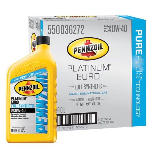 Pennzoil 550036272-6PK Platinum Euro SAE 0W-40 Full Synthetic Motor Oil - 1 Quart (Case of 6)