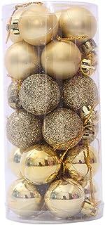 Xiton 1 Caja (24pcs) Multi Utilizar Bolas de Navidad con la práctica Cadena de Bolas de plástico irrompible Adornos del árbol de Navidad con Bolas de Oro