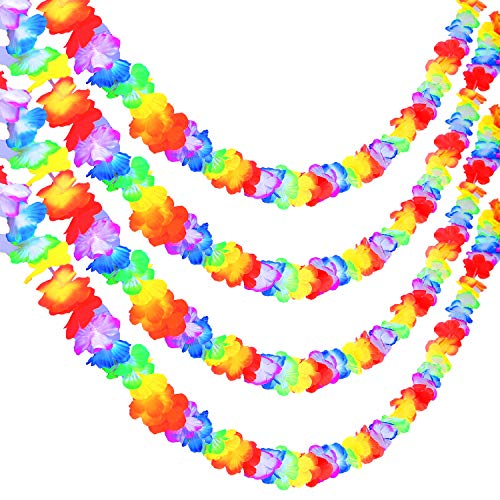 URATOT 4 Pack Multicolor Luau Party Garland 10 Inch Tropical Flower Lei Garland for Hawaiian Luau Tropical Party Supplies