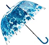 ZJJJD Belle Simple Pratique Parapluie Et Coupe-Vent Parapluie Transparent Transparent Épais À Feuilles Vertes Et À Feuilles Vertes, avec Confortable Antidérapant Bleu Résistant À l'usure
