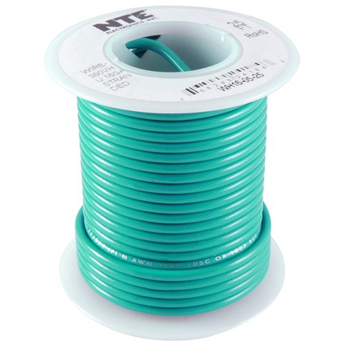 NTE Electronics WT22-05-25 Series WT Teflon Hook Up Wire, Type 22 Gauge, 19 Stranded, 25' Length, 600V, Green