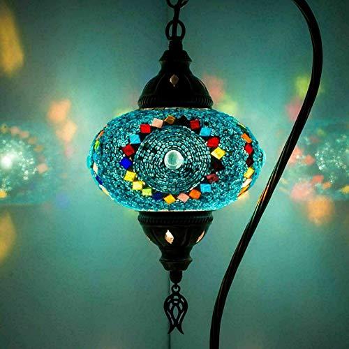 Lámpara de mosaico turco marroquí de 20 variantes, lámpara turca – Lámpara turca – hecha a mano con cuello de cisne – Lámpara de mesita de noche – Bombilla LED gratuita (3006)