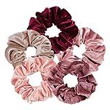 5 Scrunchies Gomas para Pelo, Ligas, Elásticos, Bandas, Coleteros, para VSCO Girls, Multicolor / Multitexturas - Colección Rojo