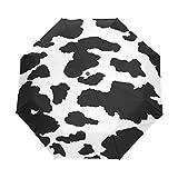 ユキオ(UKIO) 折りたたみ傘レディースワンタッチ自動開閉三つ折り傘アンブレラ牛柄レディースファッションアニマル柄彼女へ誕生日プレゼント黒ホワイトお洒落撥水性雨傘耐風晴雨兼用プレゼントに人気8本骨