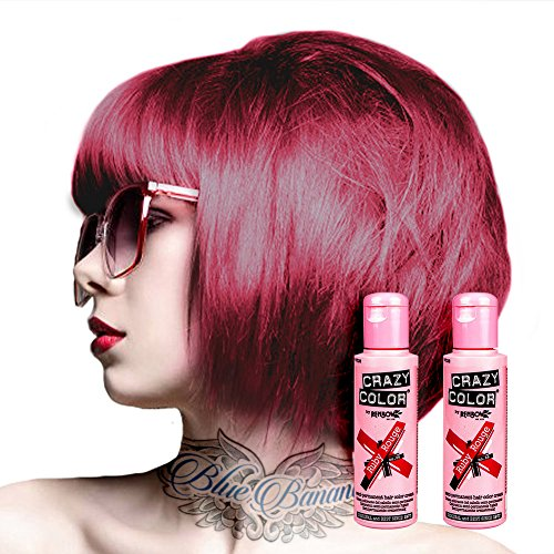 2x Crazy Color Semi-Permanente Haarfarbe 100ml (Ruby Rouge - Rubinrot)