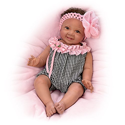 The Ashton-Drake Galleries Alanna with Hand-Rooted Hair So Truly Real Lifelike & Realistic African-American Newborn Baby Doll 18-inches