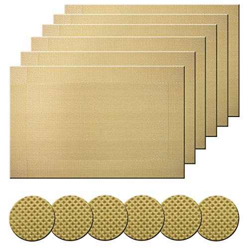 Bright Dream Table Mats and Coaster Sets Woven Vinyl Non Slip Heat Resistant Wipeable Easy to Clean Sets of 6(Gold)