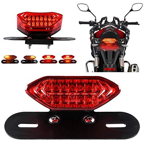 KaiDengZhe Feux arrière à LED pour moto Feux de freinage intégrés et clignotants Témoin lumineux 5W 20LED Frein de marche clignotant Support de plaque d'immatriculation (Lentille Rouge)
