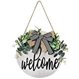 Dremisland Welcome Sign For Front Door- Front Rustic Wood Welcome Wreaths Porch Hanging Vertical Sign White Wooden Farmhouse Signs 12 x 12 Inch House and Office Sign