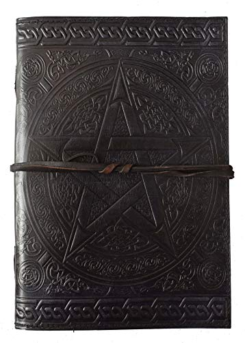 10x7 Handmade Pentagram Leather Journal Book of Shadows Black Pentacle Notebook Wiccan Witchcraft Leather Books Daily Planner Office Diary Writing Celtic Bound welsky Spell Wicca Pagan Book 10x7 Inch