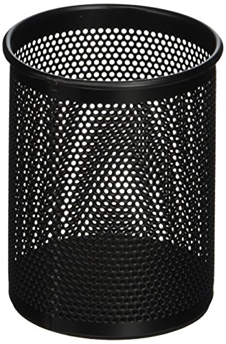 Comix 4.1' Height Metal Pen and Pencil Holder, Oval Shaped, Wired Mesh Design, Durable Metal - Black (B2002BK)