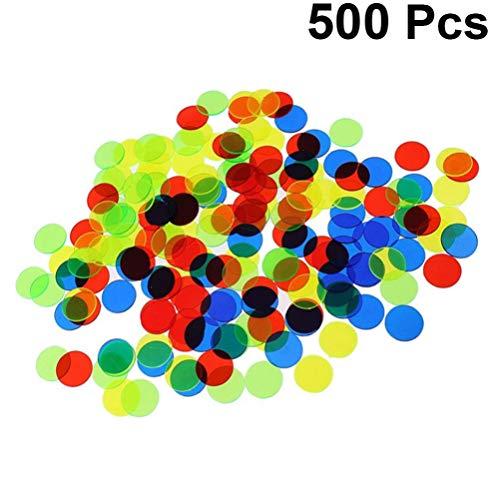 NUOBESTY 500 Stück Zählen Chips Plastik Bingo Chips Runde Scheiben Mathe Spielzähler für Schule Spielzimmer Bar 15Mm (Zufällige Farbe)