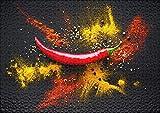 Rompecabezas de Madera de Alta Gama Chile y pimentón de Colores sobre Fondo Oscuro Gran Rompecabezas