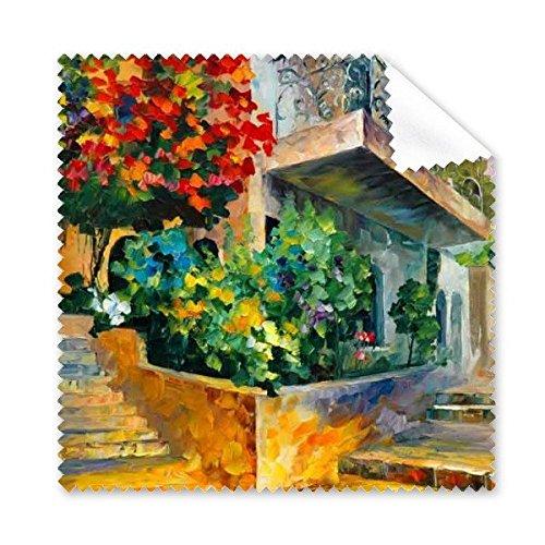 Olieverfschilderij Bloem Boom Bouwen Weg Stappen Balkon Illustratie Patroon Bril Doek Reiniging Doek Telefoon Scherm Cleaner 5 stks