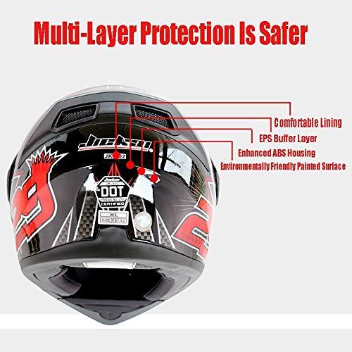 Leaf&Y Modularer Bluetooth-Smart-Motorradhelm, Anti-Fog-Doppelvisier-Klapphelm, Offroad-Motorrad-Roller-Rennhelm mit automatischer Rufannahme/Musik,L - 4