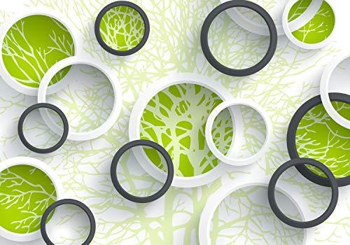 wandmotiv24 Fototapete Baum äste 3D Abstrakt Fenster Kreise XXL 400 x 280 cm - 8 Teile Fototapeten, Wandbild, Motivtapeten, Vlies-Tapeten M4589