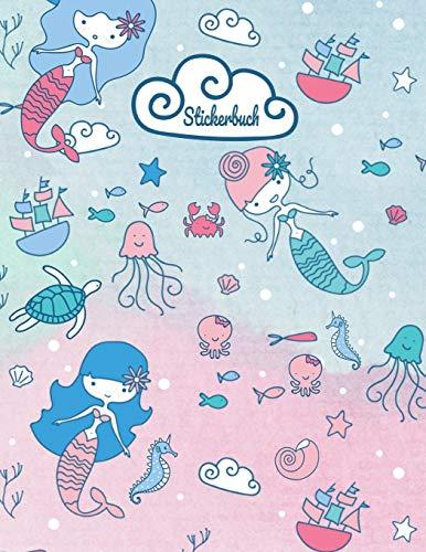 Stickerbuch: Meerjungfrau Stickeralbum leer, Sticker Sammelalbum, extradickes Stickerheft
