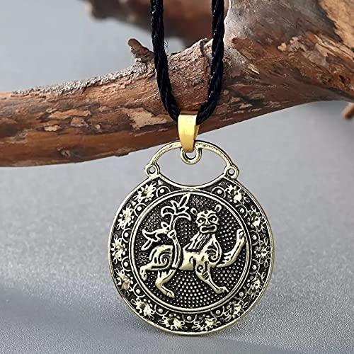 SOTUVO Collar Colgantes y Collares de León de Animales Antiguos, Collares Largos de Amistad vikinga, Regalos de Estilo Punk para Collar de joyería para Hombre