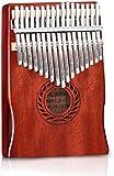 Kalimba - Piano de 17 llaves con instrucciones de estudio y martillo de afinación, madera de caoba maciza, piano de dedo de Mbira para niños adultos principiantes