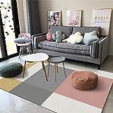 Antideslizante Home Grande Alfombra Geometría Simple de alojamiento en casa de familiaPara Dormitorio Sala De Estar Comedor Piso Fácil de Limpiar 100x160CM(3'3''x5'2'')