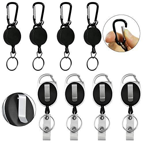 Anyasen Schlüsselanhänger Ausziehbar 8 Stück Schlusselbander Schlüsselband Gürtelclip Schlüsselhalter Gürtel Ausziehbarer Schlüsselanhänger für Ausweishülle Kartenhülle Kartenhalter Schlüsselkarten