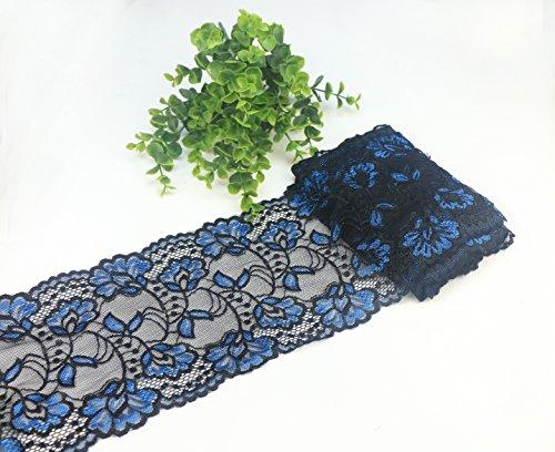Yulakes 5 Yards Blau und Schwarz Spitzenborte Spitzenband Zierband Stretch Spitze Blume Borte Hochzeit lace Trim Deko Band,Handwerk, Schleifband 15cm Breite