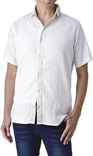 (フラグオンクルー) FLAG ON CREW フレンチリネンシャツ メンズ 半袖シャツ 麻混 無地 ワイドカラー / C1L