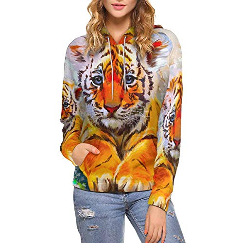 Little Tiger Watercolor Women's Hoodies Sweatshirt Pullover M
