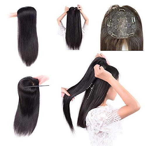 YH 100% Cheveux Humains 20 'Droite Milieu Partie Topper sans Couture Clip en Couronne Remplacement Perruques Noires pour Les Femmes