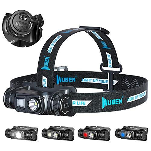 WUBEN H1 Linterna Frontal LED USB Recargable 1200 Lúmenes, Linterna Cabeza 10 Modos,Lampara cabeza alta Potencia IP68 Impermeable para Camping, Excursión, Pesca, Casco,Carrera