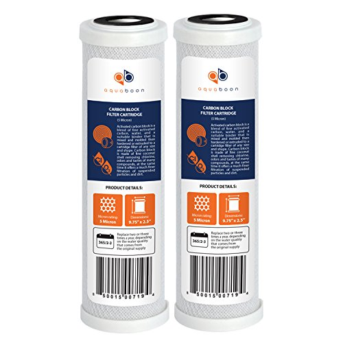 Aquaboon Coconut Shell Water Filter Cartridge | Activated Carbon Block CTO | Universal 5 Micron 10 inch Cartridge | Compatible with DWC30001, WFPFC8002, FXWTC, WHEF-WHWC, WHKF-WHWC 2-Pack
