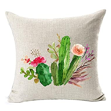 Cotton Linen Green plants Succulents Cactus Prickly Pear Square Throw Waist Pillow Case Decorative Cushion Cover Pillowcase Sofa 18 x 18  (1)
