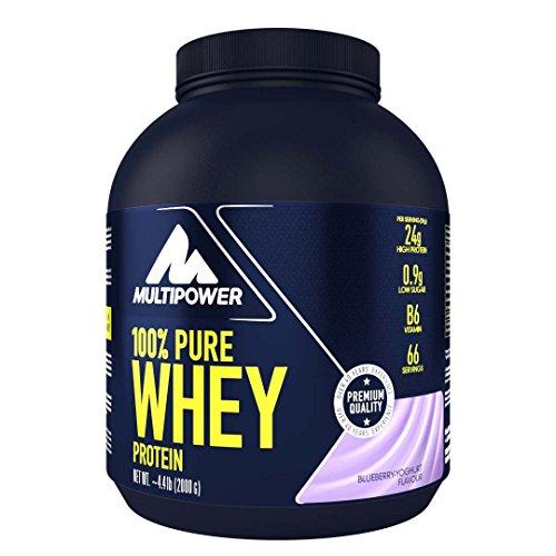 Multipower 100% Pure Whey Protein – wasserlösliches Proteinpulver mit Blueberry Yoghurt Geschmack – Eiweißpulver mit Whey Isolate als Hauptquelle – Vitamin B6 und hohem BCAA-Anteil – 2 kg