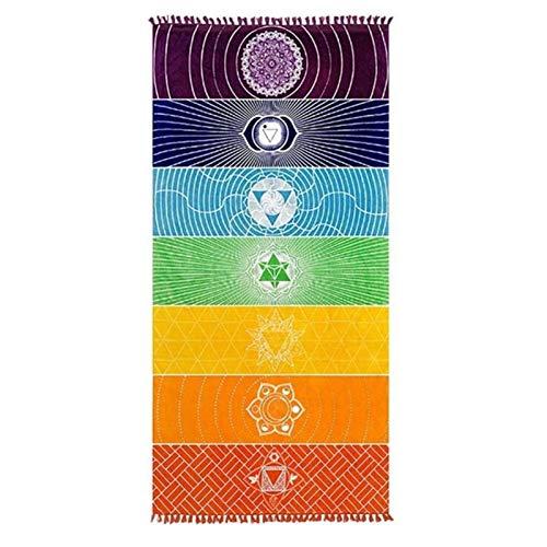 Aional Manta de tela de microfibra Bohemia India Mandala Beach Manta 7 Chakras Arco Iris, tapiz para colgar en la pared, toalla de playa, esterilla de yoga, baño con borlas
