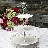 Serviteur à gâteaux 3 Niveaux - Présentoir à gâteaux 3 étages Shabby Chic et Romantique - Vintage - Diamètre 23 cm / Hauteur 33 cm - Blanc antique - Métal