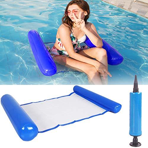 SenluKit Aufblasbares Schwimmbett, Wasser-Hängematte 4-in-1Loungesessel Pool Lounge luftmatratze Pool aufblasbare hängematte Pool aufblasbare hängematte für Erwachsene und Kinder (Dunkelblau)
