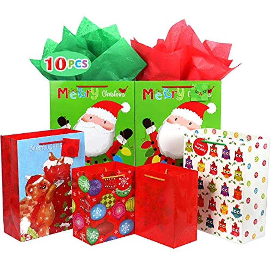 Christmas Gift Bags Bulk Set Includes 2 Extra Large 4 Large 4 Medium with Tags and Handles Christmas Print Gift Bags Assorted Sizes for Wrapping Holiday Gifts (Pack of 10)