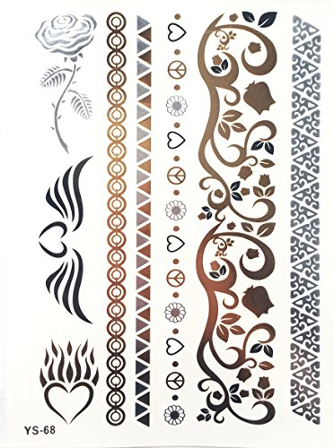 Miya® 1Stück Wild Style Metallic tatuaggio, Flash Tattoos, Tattoo, Oro Nero Argento colori temporanea Gioielli Tattoo per corpo dita braccia, collana bracciale Flash tatuaggi Body Tattoo, forma 06