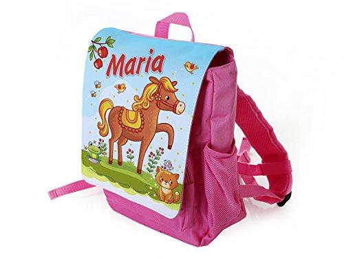 Kinderrucksack Motiv: Pferd für Mädchen in pink individuell mit Name Bedruckt, ideal für Kita/Kindergarten Kindergartenrucksack, Pferdemotiv, Reiterhof
