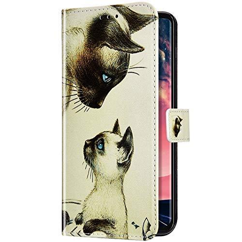 Uposao Kompatibel mit Samsung Galaxy A60 / M40 Handyhülle Bunt Muster Leder Hülle Flip Schutzhülle Brieftasche Klapphülle Wallet Cover Bookstyle Tasche Case Magnet Kartenfach,Haustier Katze