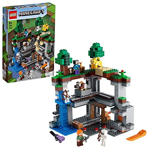 LEGO21169MinecraftLaPrimeraAventuraJuguetedeconstrucciónconMiniFigurasdeSteve,Alex,Esqueletoymás