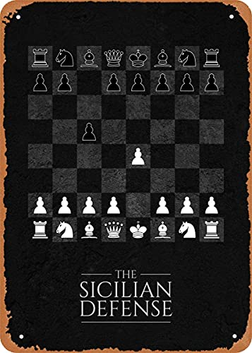 Aberturas de ajedrez Defensa siciliana Arte de pared de ajedrez 12 'x 8' Metal estaño Retro Vintage Letrero