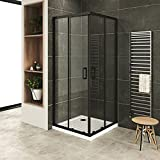 MOG Mampara de Ducha 80x80 cm altura: 190 cm con puertas correderas de esquina con perfiles negros 6mm Vidrio transparente de...