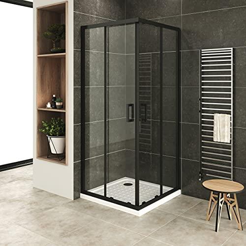 MOG Mampara de Ducha 80x80 cm altura: 190 cm con puertas correderas de esquina con perfiles negros 6mm Vidrio transparente de seguridad – DK79